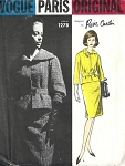 1960s VOGUE PARIS ORIGINAL PATTERN 1278 PIERRE CARDIN SUIT CLASSY BELTED JACKET  SHAPED COLLAR IN 2 WIDTHS SLIM FRONT SKIRT CENTER BACK INVERTED PLEAT Bust 34