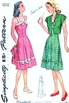 1940s CUTE Sun Dress or Evening Gown and Bolero Jacket Pattern SIMPLICITY 1297 WW II  War Time Era Flattering  Princess Style Bust 34 Vintage Sewing Pattern