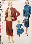 1950s  3 PC SUIT PATTERN LOVELY OVERBLOUSE SIMPLICITY 1310