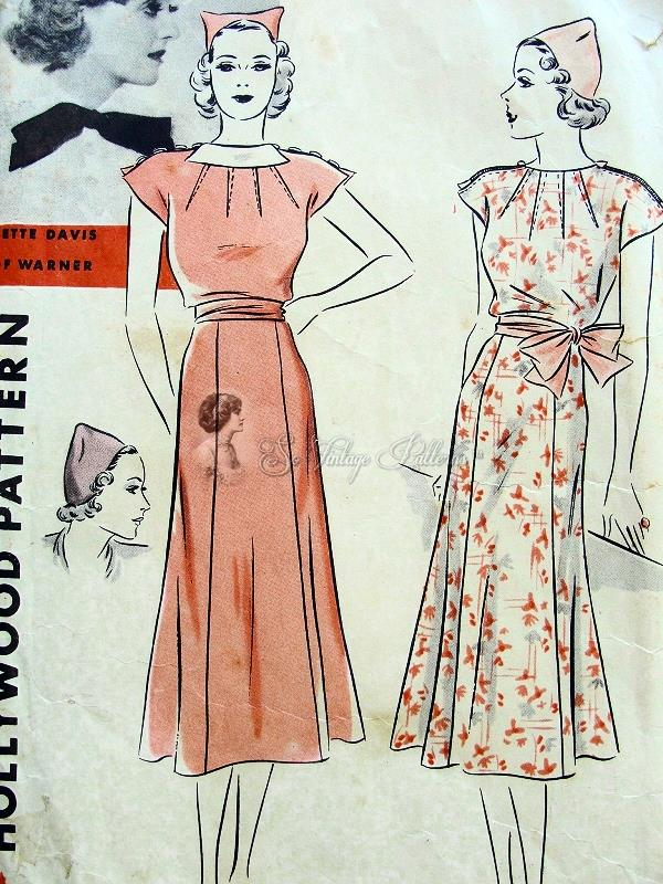 Beautiful 1930s Dress and Hat Pattern Flippy Gored Skirt, Neckline ...