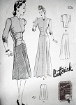 1940s 2 PC EVENING DRESS GOWN PATTERN BIAS CUT BUTTERICK 1358