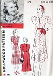 1930s BETTE DAVIS Hollywood 1378 Dress Pattern Stylish Shirtdress Three Versions Vintage Sewing Pattern