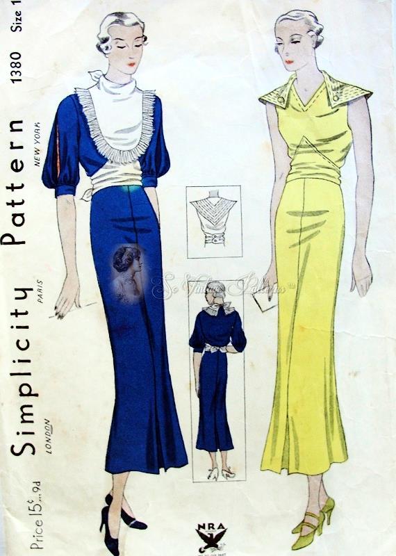 1930s Art Deco Striking Design Dress Pattern 2 Unique Styles Split ...
