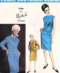 1960s  Suit and Overblouse Pattern Michael of London For Vogue Couturier Design 1386 Slim Skirt Semi Fitted Jacket Bateau Neckline Blouse Vintage Sewing Pattern