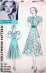 1930s BEAUTIFUL Hollywood 1391 Dress Pattern Ten Gore Skirted Frock Fitted Bodice V or  Shaped Collar Puff Sleeves Glenda Farrell of Warner Bros Vintage Sewing Pattern Bust 36