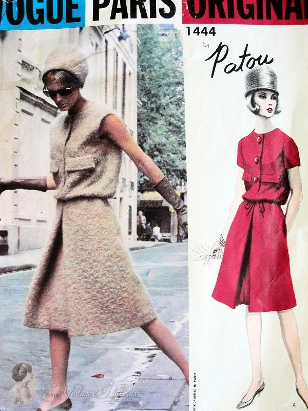 1960s Elegant Patou Dress Pattern Vogue Paris Original