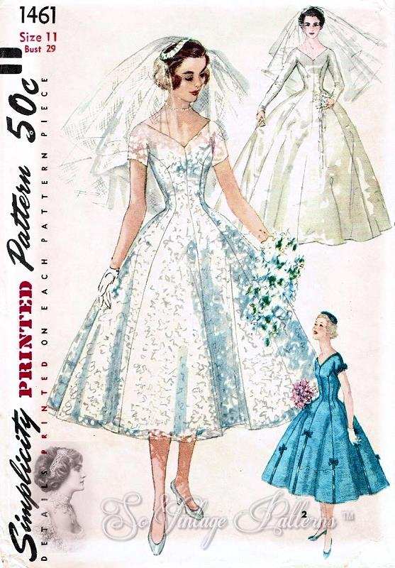 1950s Beautiful Wedding Dress Pattern Simplicity 1461 Bridal Gown And Veil With Head Piece Princess Style Figure Flattering Bust 30 Vintage Sewing