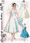 1950s BEAUTIFUL Wedding Dress Pattern SIMPLICITY 1461 Bridal Gown and Veil With Head Piece, PRINCESS Style Figure Flattering Bust 30 Vintage Sewing Pattern