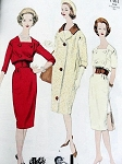 1950s PATOU Slim Double Breasted Dress and Coat Pattern Stylish Design VOGUE PARIS ORIGINAL 1461 Vintage Sewing Pattern Bust 34