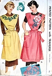1940s LOVELY Full Bib APRON Pattern MCALL 1469 Includes Embroidery Transfer Vintage Sewing Pattern FACTORY FOLDED