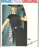 1960s MOLYNEUX VOGUE PARIS ORIGINAL PATTERN 1489 SLIM DRESS DIAGONAL SEAM DESIGN