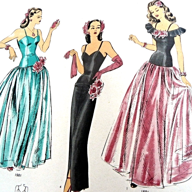 1940s Beautiful Evening Gown and Cape Pattern Hollywood 1501 Full ...