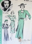1930s Hollywood 1555 Vintage Sewing Pattern Beautiful Dress and Jacket Featuring Fay Wray of Columbia Studios Bust 34