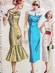 1950s Cocktail Evening or Day Dress Pattern Simplicity 1575 Slim Sheath Dress or Flounced Bottom Mermaid Version 3 Styles Vintage Sewing Pattern Bust 34