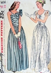 1940s EVENING DRESS GOWN PATTERN 2 BEAUTIFUL STYLES  SIMPLICITY 1606