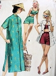 1950s  Fab BEACHWEAR Pattern SIMPLICITY 1608 Two Pc Playsuit, Swimsuit, Beach Coat 2 Lengths Bust 29 Vintage Sewing Pattern