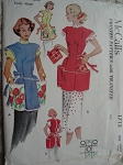 1950s Apron and Pot Holder Pattern McCalls 1713 Cute Cobbler Styles Includes Iron on Transfer Size Large Vintage Sewing Pattern