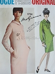 1960s SLEEK Molyneux Slim Dress Pattern VOGUE Paris Original 1734 Bust 31 Vintage Sewing Pattern FACTORY FOLDED + Sew In Label