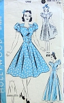 1940s DRESS, PETTICOAT PATTERN CIRCULAR SKIRTED, SWEET HEART NECKLINE, PRETTY PUFF SLEEVES,  BIAS CUT PETTICOAT HOLLYWOOD PATTERNS 1797