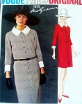 1960s SLIM MOLYNEUX SHIRT DRESS PATTERN FRONT BUTTON, CLASSY STYLE VOGUE PARIS ORIGINAL PATTERNS 1815