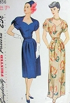 1940s EVENING DRESS PATTERN INTERESTING NECKLINE, SLEEVES SIMPLICITY 1856