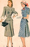 1940s SNAPPY Forties Suit Pattern SIMPLICITY 1866 Princess Peplum Jacket Turned Back Cuffs,Flared Skirt Bust 30 Vintage Sewing Pattern