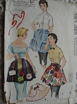 1950s APRON PATTERN with TRANSFERS CLAMP ON or TIE ON