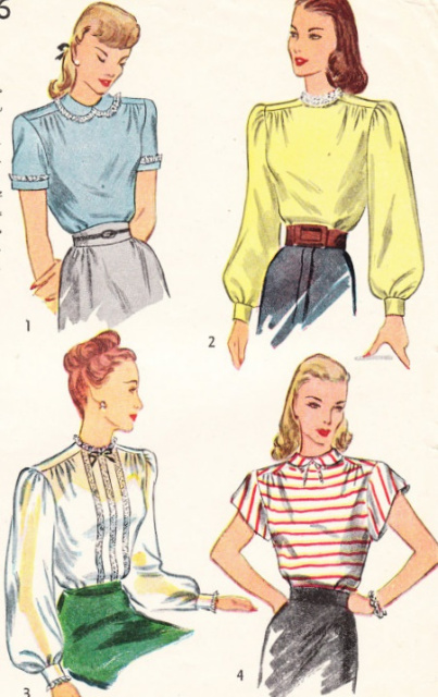 1940s Pretty Blouses Pattern Simplicity 1906 Vintage Sewing Pattern