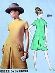 1960s OSCAR de La RENTA Dress Pattern VOGUE Americana 1908 Front Inverted Pleat, Stand Up Collar , Interesting Pocket Details Size 8 Vintage Sewing Pattern