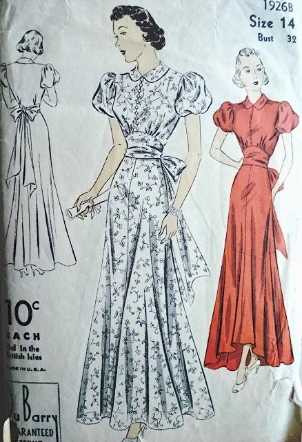 1930s Evening Dress Pattern 2 Hemlines High Low Version