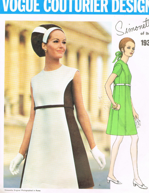 40s Mod Simonetta Color Block A Line Dress Pattern VOGUE COUTURIER Mesmerizing A Line Dress Pattern