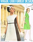 1960s Mod Simonetta Color Block A Line Dress Pattern VOGUE COUTURIER DESIGN 1930 Bust 32.5 or 34 Vintage Sewing Pattern