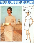1960s STUNNING FEDERICO FORQUET Evening Cocktail Dress Pattern VOGUE COUTURIER DESIGN 1957 Straight Loose Fitting Dramatic DIAGONAL Seaming  BATEAU Neckline Bust 32 Vintage Sewing Pattern
