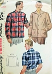 1940s Mens Shirt Pattern CLARK GABLE Style Lumber Outdoorsman Lumber Jack Jacket 2 Styles Over Shirt or Tuck In Simplicity 1961 Three Sizes Available Vintage Sewing Pattern