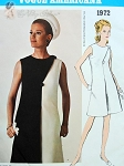 1960s Elegant Bill Blass Dress Pattern VOGUE AMERICANA 1972 Day or Evening Includes Two Tone Version Bust 32 Vintage Sewing Pattern FACTORY FOLDED