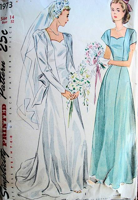 1940s BRIDAL GOWN WEDDING DRESS PATTERN SWEETHEART NECKLINE