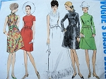 1960s DAY OR EVENING DRESS GOWN PATTERN VOGUE BASIC DESIGN