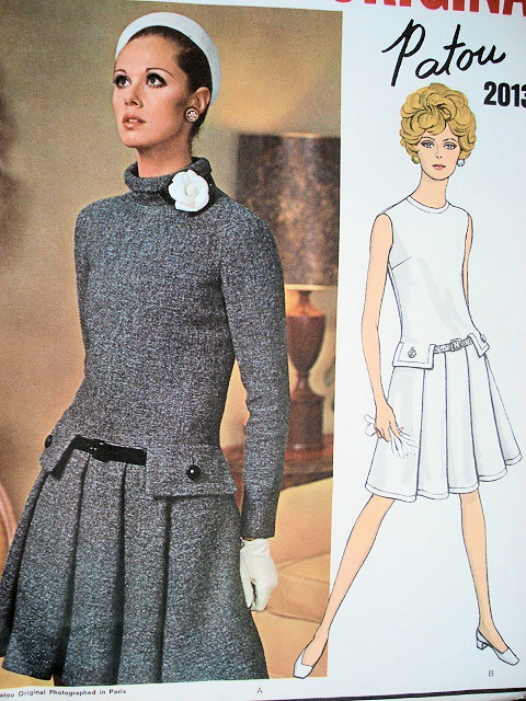 1960s Patou Drop Waist Dress Pattern Vogue Paris Original 2013 Front