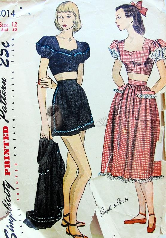 1940s Beach Wear Pattern Pin Up Style Shorts, Midriff Top and Skirt ...
