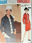1960s  VOGUE PARIS ORIGINAL PATTERN 2042 MOLYNEUX SLIM SKIRTED SUIT JACKET WITH DETACHABLE FRONT BAND, CUFFS