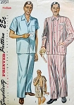 1950s CLASSIC Gentlemens Pajamas Pattern SIMPLICITY 2051 Long Trousers or Shorts 3 Style Versions  Medium Size Vintage Sewing Pattern
