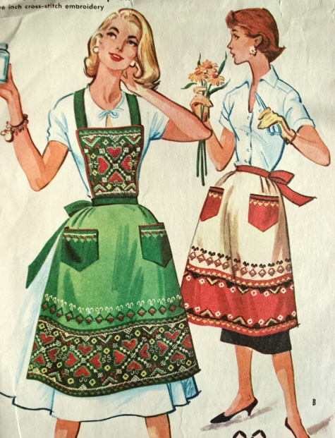 1950s Full Bib Or Half Aprons Pattern 6 To The Inch Cross