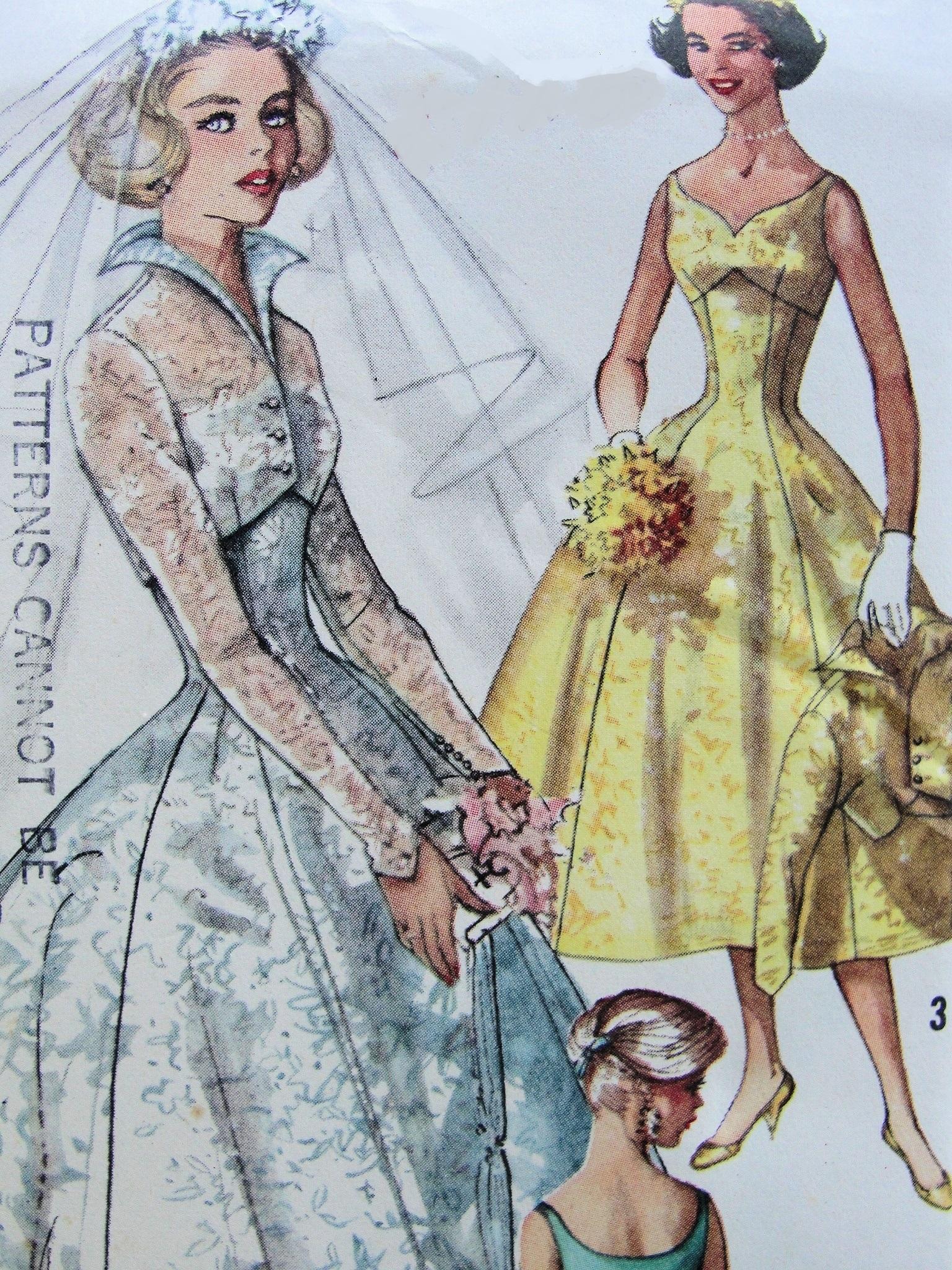 1950s BEAUTIFUL Empire Sweetheart Neckline Wedding Dress Bridal Gown ...