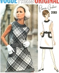 1960s VOGUE PARIS ORIGINAL 2083 Mod PIERRE CARDIN Striking Dress Pattern Bust 34 Vintage Sewing Pattern