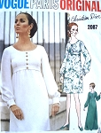 60s EMPIRE Day or Evening Maxi Dress Pattern CHRISTIAN DIOR Vogue Paris Original 2087 Classy Style Size 8 Vintage Sewing Pattern