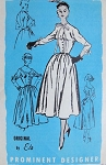 1950s  PRETTY FULL SKIRTED DRESS PATTERN 2 BODICE STYLES, ORIGINAL ETA PROMINENT DESIGNER 208