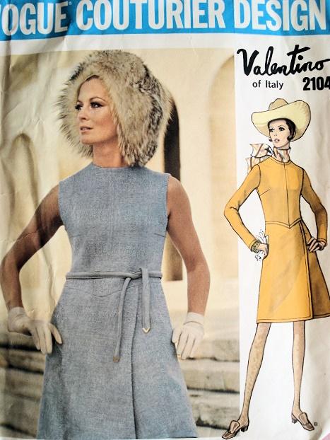 1960s Vintage Valentino Dress Pattern Vogue Couturier