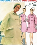 1960s MOLYNEUX Slim Dress Mod Tent Coat Pattern VOGUE PARIS ORIGINAL 2110 Fab Coat Design Classy Dress Size 8 FACTORY FOLDED