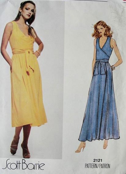 Vintage Scott Barrie Front Wrap Dress Pattern Beautiful