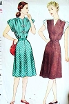 1940s War Time Dress Pattern SIMPLICITY 2123 Two Pretty Styles Bust 36 Vintage Sewing Pattern